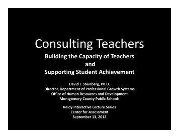 Consulting Teachers - Center  for Assessment