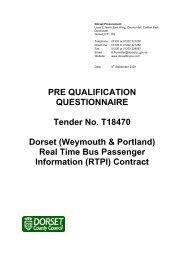 PRE QUALIFICATION QUESTIONNAIRE Tender ... - Dorsetforyou.com