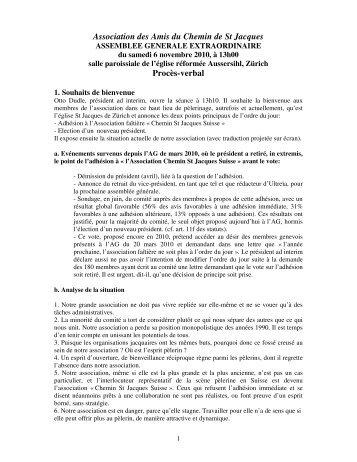 Association des Amis du Chemin de St Jacques Procès-verbal