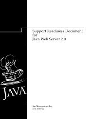 Support Readiness Document for Java Web Server 2.0