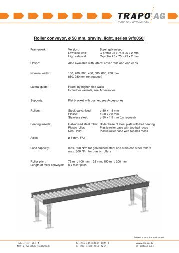 Roller conveyor, ø 50 mm, gravity, light, series 9rfg050l
