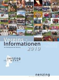 Vereins - Informationen 2010 - Nenzing ist mehr - Projekt