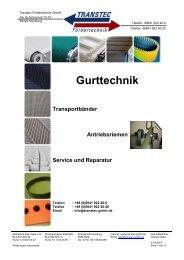 Gurttechnik Transportbänder Antriebsriemen Service und Reparatur