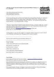 Nr. 1, Mai - Netzwerk Frankfurt für gemeinschaftliches Wohnen eV