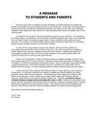 A MESSAGE TO STUDENTS AND PARENTS - Warwick School District