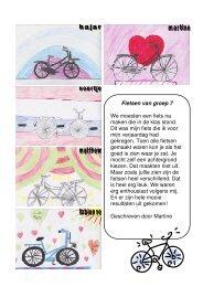 Fietsen van groep 7 We moesten een fiets na maken die in de klas ...