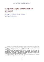 La psicoterapia centrata sulla persona - ACP