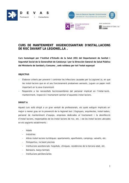 FITXA TÊCNICA CURS LEGIONEL.LA - CRESCA