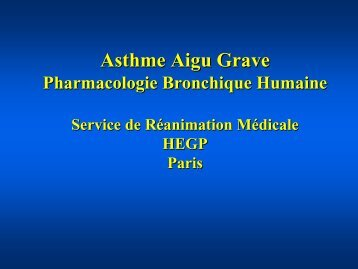 Médicaments de l'Asthme Aigu Grave Service de ... - SRLF