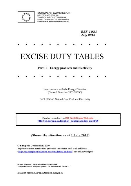 EXCISE DUTY TABLES