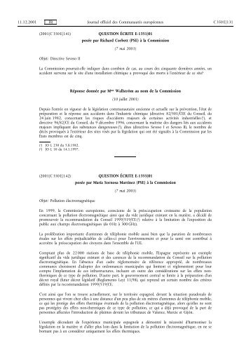 Journal officiel CE 350, 11/12/2001, p. 131 - Certil