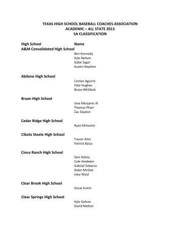 View complete list of All State 2013 5A Classification - Mesquite ISD