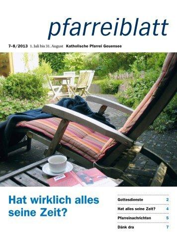 Pfarreiblatt Juli/August 2013 - Pfarrei Geuensee