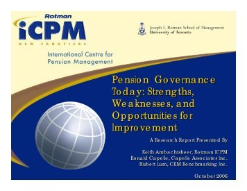 Pension Governance Today: Strengths, Weaknesses, and ...