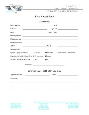 Final Inspection Form - Butte County