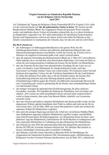Virginia Statement zur Islamischen Republik Pakistan 05 CS