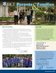 2012 Winter - Parents & Families Newsletter - Rice University