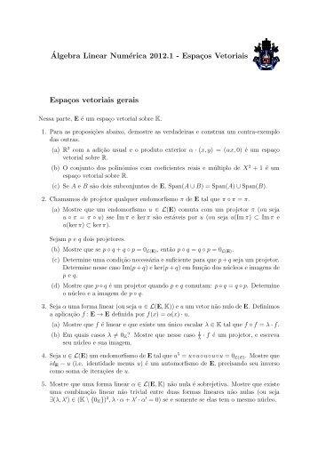 ´Algebra Linear Numérica 2012.1 - Espaços Vetoriais ... - PUC-Rio