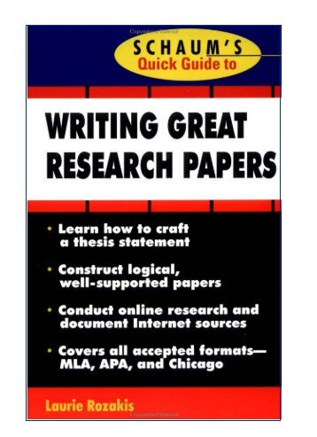 Schaum's Quick Guide to Research Papers