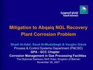 Mitigation to Abqaiq NGL Recovery Plant Corrosion Problem