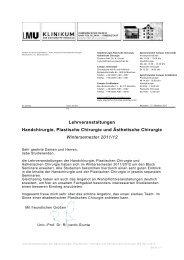 Lehrveranstaltungen Handchirurgie, Plastische Chirurgie und ...