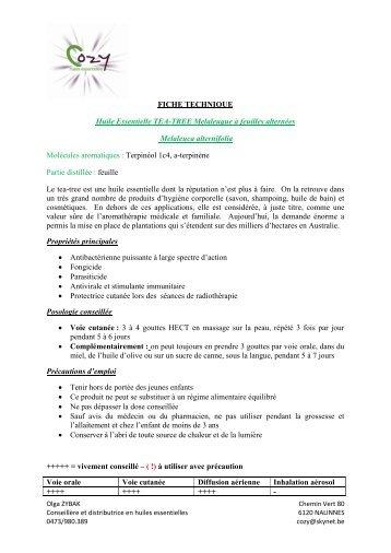 FICHE TECHNIQUE Huile Essentielle TEA-TREE ... - COZY Belgique