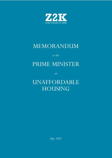 Memorandum to the Prime Minister on Unaffordable Housing