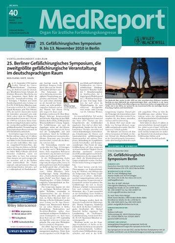 25. Berliner Gefäßchirurgisches Symposium, die zweitgrößte ...