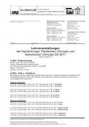 Lehrveranstaltungen SS 2011 26.4.2011 - des Klinikums