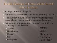 Benefits of grass-fed meat and dairy products with regard to ...