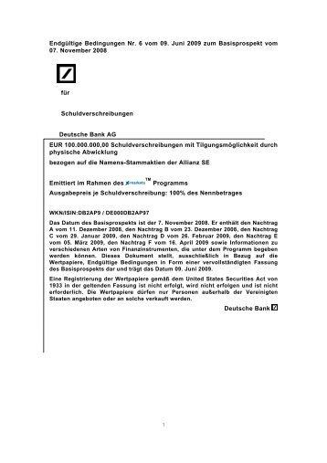 Endgültige Bedingungen Nr. 6 vom 09. Juni 2009 ... - Börse Stuttgart