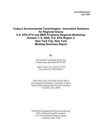 US EPA's Today's Environmental Technologies—Innovative ...