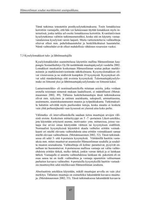 Hämeenlinnan seudun muuttajatutkimus 2009 - Kehittämiskeskus ...