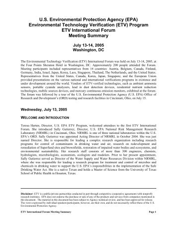 US EPA Environmental Technology Verification (ETV) Program ETV ...