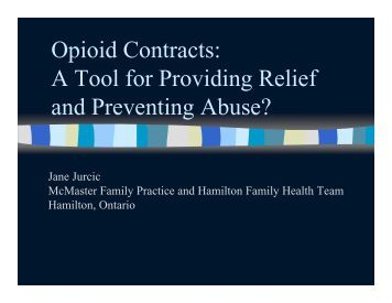 Opioid Contracts: A Tool for Providing Relief and Preventing ... - Impact