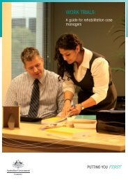 Work trials: A guide for rehabilitation case managers ... - Comcare