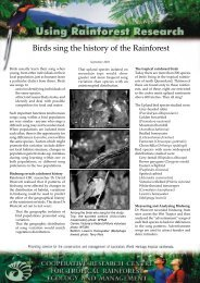 Birds sing the history of the - Rainforest Cooperative Research Centre