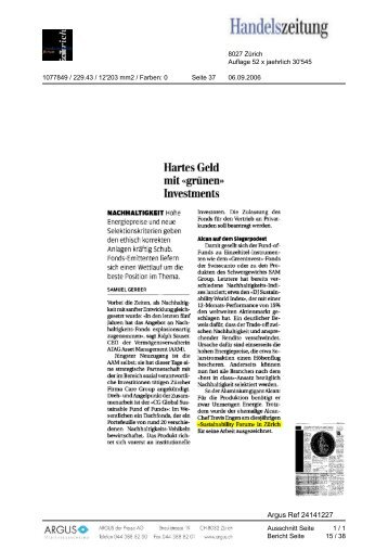 Handeiszeitung - The Sustainability Forum