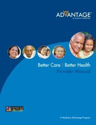 Better Care | Better Health Provider Manual - Superior HealthPlan