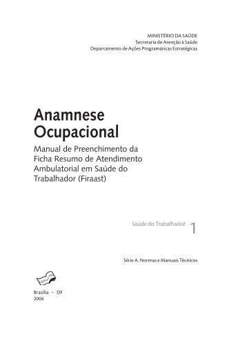 Anamnese ocupacional : manual de preenchimento ... - Renast Online