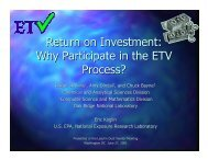 Return on Investment: Why Participate in the ETV Process?