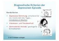Diagnostische Kriterien der depressiven Episode Kernkriterien