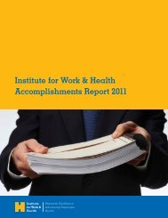Accomplishments Report 2011 - Institute for Work & Health