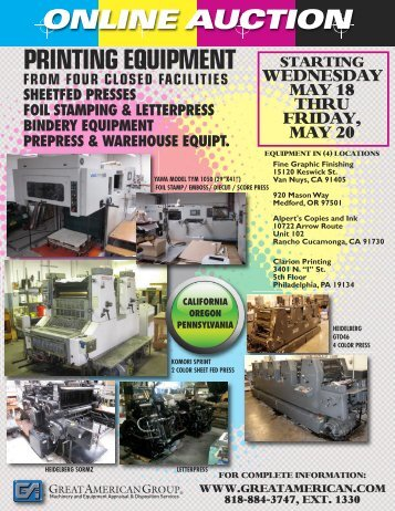PRINTING EQUIPMENT - Great American Group