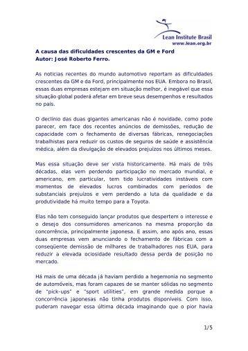 1/5 A causa das dificuldades crescentes da GM e Ford Autor: José ...