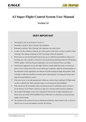 A3 Super Flight Control System User Manual Version 1.0 ... - HiModel