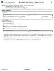 Contribution Instructions - Recharacterization - LPL Financial