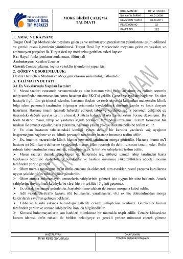 TOTM-TLM-057 Morg Birimi Çalışma Talimatı.pdf - Turgut Özal Tıp ...