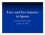 Face and Eye Injuries in Sports - New Trier Township High School