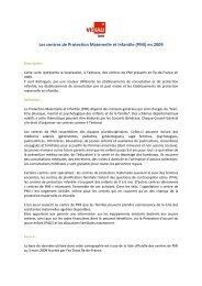Les centres de Protection Maternelle et Infantile (PMI) en 2009